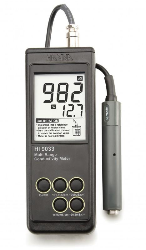 Heavy Duty Waterproof Portable Conductivity Meter - HI9033