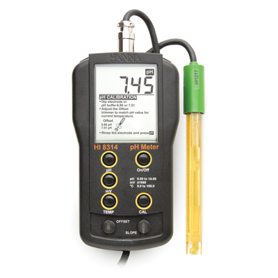 [:lt]pH/mV/°C matuoklis su HI1217D elektrodu- HI8314[:en]Analog pH/mV/°C meter with HI1217D electrode - HI8314[:]