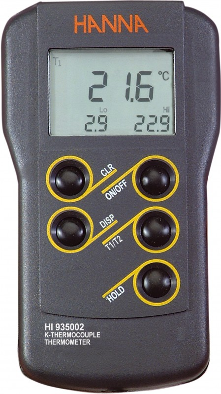 Dual Channel K-Type Thermocouple Thermometer - HI935002