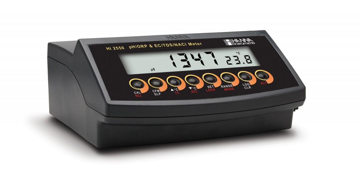 [:lt]Multiparametrinis pH/mV/ISE/EC/TDS/druskingumo/temp stalinis matuoklis HI2550[:en]Multiparameter pH/mV/ISE and EC/TDS/Salinity Benchtop Meter - HI2550[:]