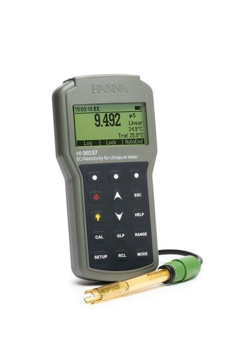 Ultra Pure Water EC/Resistivity Waterproof Portable Meter - HI98197