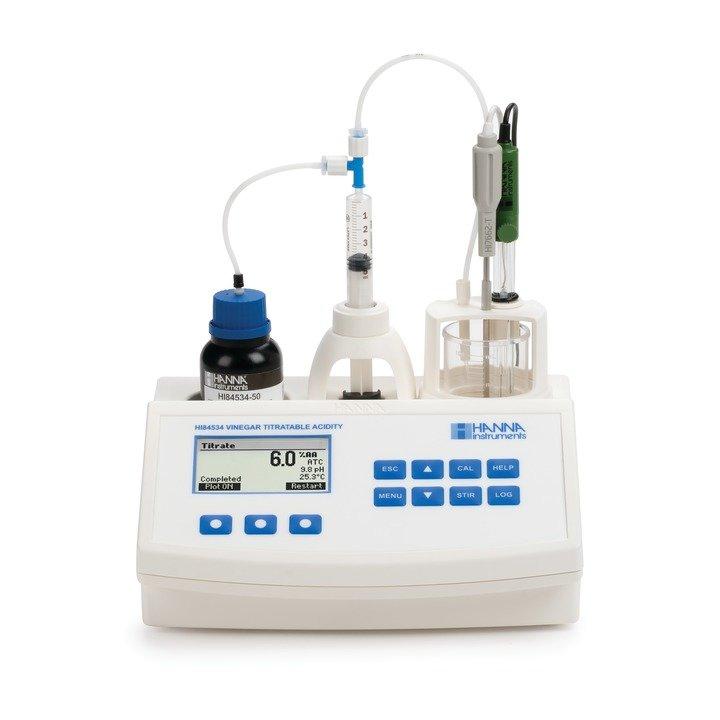 [:lt]HI84534 Acto rūgštingumo nustatymo titratorius ir pH matuoklis[:en]HI84534 Titratable acidity titrator and pH meter for Vinegar[:]